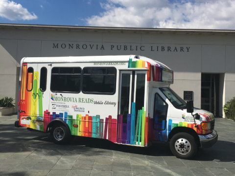 Monrovia Reads Van parked in front of Monrovia Public Library